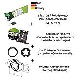 Selve SP 1/10 Rolladenmotor inkl. Einbruchschutz durch patentierte SecuBlock, Motorlager, Anschlusskabel und SW 60 Adapter/Mitnehmer. (SP 1/10 ohne SecuBlock)