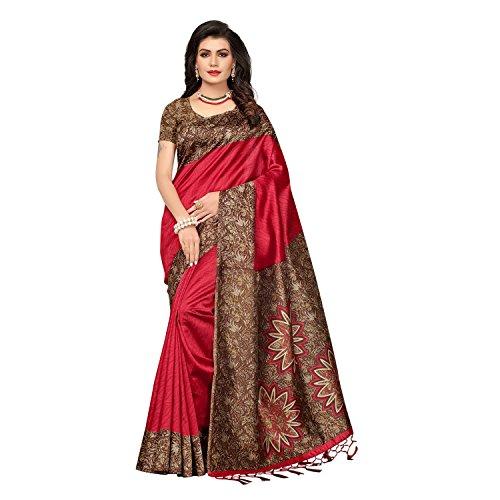 SAREE MALL Art Silk Saree With Blouse Piece (_Red_Free Size)