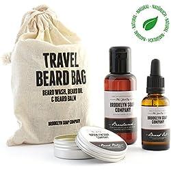 Bartpflege-Set: Travel Bag ✔ bestehend aus Bartshampoo, Bartöl, Bartwachs ✔ Naturkosmetik der BROOKLYN SOAP COMPANY ® ✔ Geschenkidee als Geschenk für Männer und als Reiseset für den modernen Mann