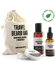 Kit entretien barbe: Travel Bag ✔ contient shampoing et huile à barbe et baume pour la barbe ✔cosmétiques naturels...