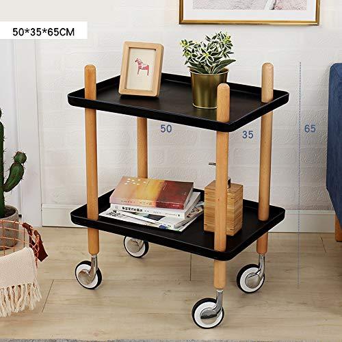 WJQSD Laptop Tischcomputer Sofa Beistelltisch mit Rädern, Tablett Beistelltisch Wohnzimmer Schlafzimmer, 2-Tier Nachttisch Utility Rollwagen 2 Farben Multifunktionaler Klapptisch für den Innenbereich, (Utility-räder)