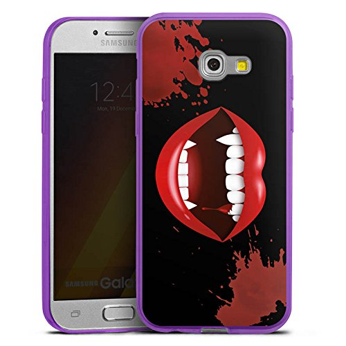 (DeinDesign Slim Case kompatibel mit Samsung Galaxy A3 Duos 2017 Silikon Hülle Ultra Dünn Schutzhülle Vampir Halloween Lippen)