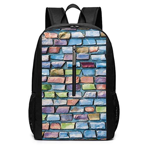 Black Mosaic Tile (Schulrucksack, Schultasche Travel Bookbag, Colorful Mosaic Tiles Pattern Brick Laptop Backpack, 17-inch Laptop Backpack for High Or College Schoolbag Book Bag for Men Women Black)