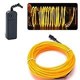 Lychee Flexibel 15 ft 5 m Neon Beleuchtung Draht Lichtschlauch Leuchtschnur EL Kabel Wire mit 3 Modes für Partybeleuchtung (Gelb)