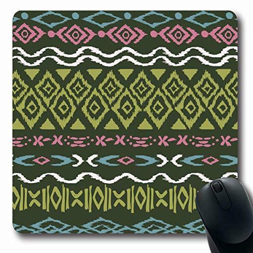 Luancrop Mousepads Ethnizität Blau Muster Kreuzstich Abstrakt Aztekisch Rot Geometrisch Block Navajo US-Kultur rutschfeste Gaming-Mausunterlage Längliche Gummimatte -
