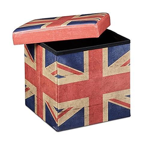 Relaxdays Tabouret pliant coffre de rangement pliable banc de stockage avec couvercle amovible 38 x 38 x 38 cm pouf en similicuir repose-pieds table appoint motifs tendances Angleterre