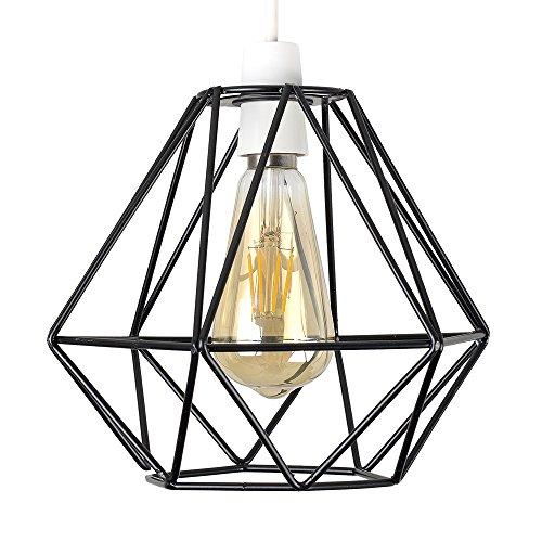 MiniSun - Schöner, retro Lampenschirm im offenen Korbdesign mit schwarzem Metall-Finish - für Hänge- und Pendelleuchte -