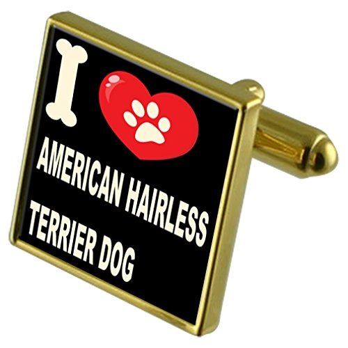 Select Gifts Ich liebe meinen Hund Gold-Tone Manschettenknöpfe & Geld Clip - American Hairless Terrier -
