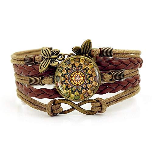KAIBUPHT Piedras Preciosas Artificiales Pulsera Mandala Print Time Gemstone Bracelet Vintage Butterfly Combinación Infinita de joyería