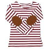 QUICKLYLY Camisetas de Manga Larga Niños Raya Pull-over Sudaderas paraBebé Blusas (Rojo, 6 Años(140))