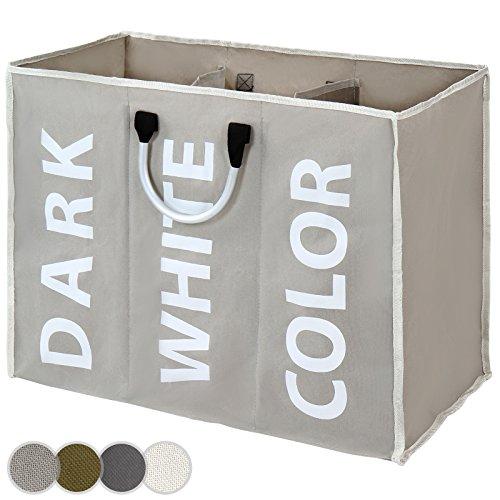 Jago Wäschesammler Wäschebox Wäschekorb mit 3 Wäschefächer Wäschesortierer - Farbwahl
