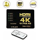 HDMI 4K UHD Commutateur Switch, 5 Ports 5x1 AV Vidéo Switcher 5 en 1 Sélecteur HDMI automatiquement, Prise en charge HDCP 3D 1080p, Résolution: jusqu'à 4k pour HD DVD, SKY-STB, PS3, XBOX360, HDTV, Moniteur, Projecteur HD et plus