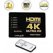 HDMI Switch 4K UHD, 5 puertos 5x1 AV Video Switcher 5 en 1 salida HDMI Selector automáticamente, soporte HDCP 3D 1080p, resolución: hasta 4k para HD DVD, SKY-STB, PS3, XBOX360, HDTV, monitor, proyector HD y más