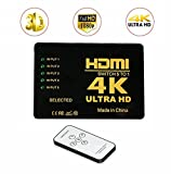 5x1 HDMI Switch, 5 in 1 out 5 Ports HDMI Switcher Selector Umschalter ,Support HDCP 3D,1080p,Ultra HD 4K,Auflösung bis 4k for PC,Laptop,XBOX,HDTV,Monitor/Projector and More