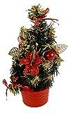 Mini Deko Tanne, rot - geschmückter kleiner Weihnachtsbaum - Schreibtischdeko, Gastro Deko uvm.