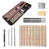 29pezzi professionale per disegno e schizzo Art Tool kit con matite di grafite, matite carboncino, paper penna cancellabile, coltellino con rotolamento della