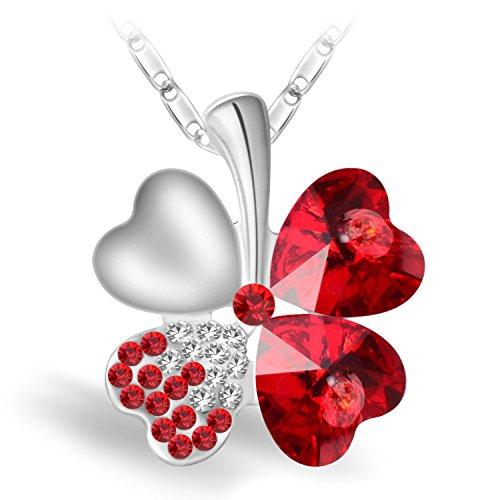 Joyfulshine Collier Pendentif Femmes,Rouge Cristal Collier Trèfle à Quatre Feuilles,Cadeau de Chaîne Plaqué Or Blanc 18K pour des Filles de Dames