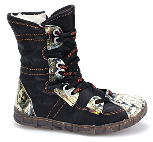 TMA Damen Winterstiefel Boots Gefüttert Stiefeletten 2013N Schwarz