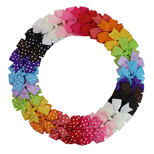 30 PCS Hair Bows with Alligator Clips, HBF Boutique Kids Grosgrain Ribbon Hair Bow for Baby Girls (15 solid +15 polka dot)