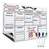 Yoassi Pizarra Magnética para Nevera, Tablero Recordatorio con Calendario Semanal, Planificador Organizador de Tareas Plan con 4 Rotuladores