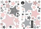 greenluup große, ökologische Wandsticker aus Vlies Sterne Rosa-Rot Grau Kinderzimmer Babyzimmer Baby Mädchen Wanddeko (w16)