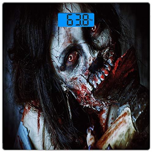 �rpergewicht Waage Zombie Decor Ultra Slim gehärtetes Glas Personenwaage Genaue Gewichtsmessungen, beängstigend Tote Frau mit blutiger Axt Evil Fantasy Gothic Mystery Halloween Bild ()