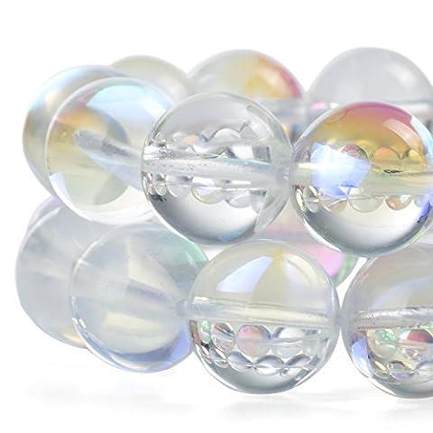 Rubyca synthétique ronde Pierre de Lune Cristal Perles de verre Aura irisé Couleur, blanc, 8 mm