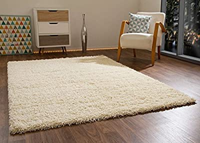 "Shaggy Rug Happy XL Soft Touch Cream Thick Non Shedding High Pile, Size 65x130 cm (2'2""x4'3"") - inexpensive UK light store."