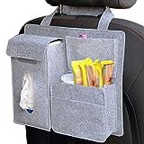 Feltro di lana Gespout sottovuoto, sacchi per la spazzatura da appendere dietro seggiolino auto multifunzionale borsa bevande ideale per cellulari per mettere snack asciugamani di carta, feltro, Grey, 32*28*8.5cm (L*W*H)