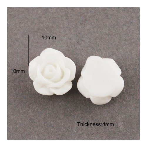 Paket 30 x Weiß Harz 5 x 10mm Blume Cabochon - (Y02875) - Charming Beads