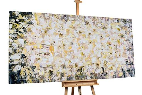 'Strahlendes Gold' 200x100cm | Abstrakt Beige Muster | Modernes Kunst Ölbild