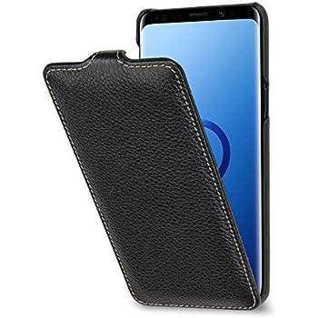 STILGUT Housse pour Samsung Galaxy S9 UltraSlim en Cuir élégant à Ouverture Verticale, Noir