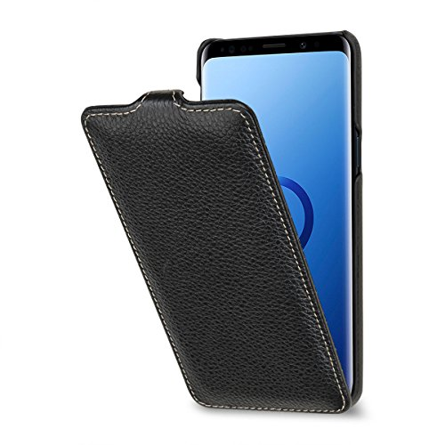 StilGut Leder-Hülle kompatibel mit Galaxy S9, vertikales Flip-Case, Schwarz
