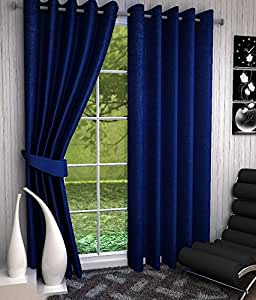 Shivam Concepts 6 ft Set Of 1 window- door navy blue plainPolyester Curtains