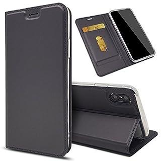 EximMobile - Slim Handyhülle Brieftasche für Sony Xperia Z5 Compact mit Kartenfach in Dunkelgrau | Dünne Schutzhülle | Handytasche als Book Case | Cover | Taschen | Etui Hüllen | Halterung aus Silikon