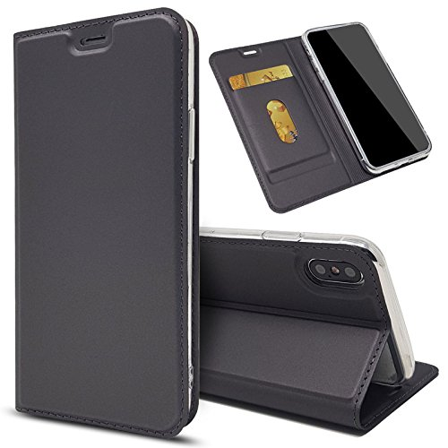 Eximmobile Slim Handyhülle Brieftasche für Sony Xperia 10 mit Kartenfach in Dunkelgrau | Dünne Schutzhülle | Handytasche als Book Case | Cover | Taschen | Etui Hüllen | Halterung aus Silikon 10 Slim Tasche Case