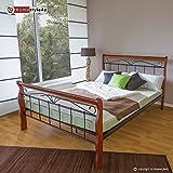 Homestyle4u 550, Metallbett 140 x 200 Mit Lattenrost, Bettgestell Metall, Pfosten Holz Braun