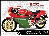 Red Hot Lemon Schild aus Weißblech/Metall, 300x 410mm, 4-teilig, mit Motiv Ducati 900cc Mike Hailwood, für die Wand, Grau/Rot/Grün