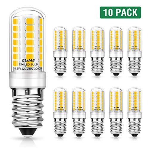 GLIME E14 LED Lampen 4.5W 400LM LED Leuchtmittel Ersatz für 50W Halogenlampen 3000K Warmweiß LED Glühbirne 360 ° Strahlwinkel kleine Glühlampen nicht dimmbar Birnen Energiesparlampe 10er Pack