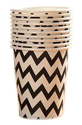 Getränke-air-service (20 Count 9-OZ (250 ML) Einweg-Pappbecher Party Supplies Trinken / Picknick / Barbecue Cups, Schwarz # 15)
