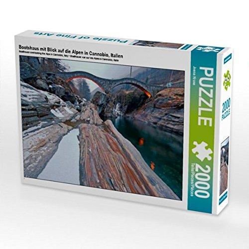 Bootshaus mit Blick auf die Alpen in Cannobio, Italien 2000 Teile Puzzle quer Preisvergleich