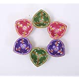 Kieana Heart Shape Designer Multicolor Diya For Puja And Rangoli Decoration | Diya Lamps For Pooja | Diwali Gifts And Decoration | Handmade/Handicraft Item | Diya For Decoration.(Pack Of 6)