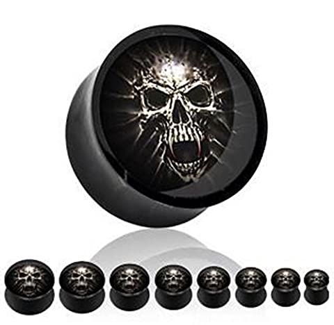 1 x 16mm Screaming Skull Jumping Out Picture Inlay Black Solid Acrylic Ear Tunnel Saddle Plug Piercing Finest Quality