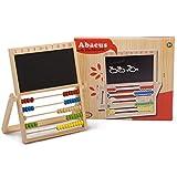 Kinder Schultafel mit Regenbogen Abacus klappbar - Holz Rechenschieber Rechenbrett mit Zahlentafel von 1 bis 10 und Tafel