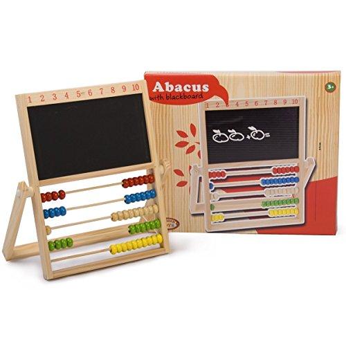 Kinder Schultafel mit Regenbogen Abacus klappbar - Holz Rechenschieber Rechenbrett mit Zahlentafel von 1 bis 10 und Tafel (Abacus Für Kinder)