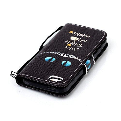 Meet de Apple iPhone 5S Bookstyle Étui Housse étui coque Case Cover smart flip cuir Case à rabat pour Apple iPhone 5S Coque de protection Portefeuille - papillon de pissenlit Yeux bleus Don't touch my phone
