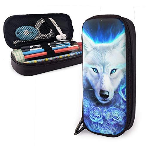 White Ice Wolf PU-Leder Federmäppchen mit doppeltem Reißverschluss, Schulbüro Großraum-Briefpapier-Kasten-Federbeutel