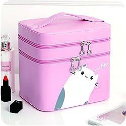 Lindo Caso De Maquillaje De Doble Capa Portátil Cosméticos Cepillos Organizador Bolsas De Almacenamiento para Mujeres Niñas Uso En El Hogar,Pink