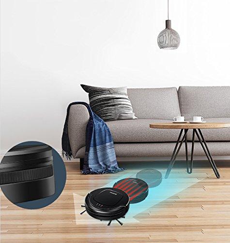 S550 Robot Aspirateur Avec Dock De Charge Intelligent Anti-Chute Pour Tapis De Sol De Bois Dur Thin Tapis Et Pet Hair Noir