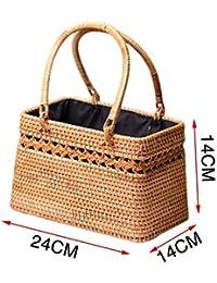c747100cc6f sac à main en rotin de plage panier rangement tissage rétro grande capacité  extérieure été pour